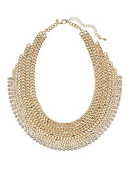 Diamanté Flat Chain Collar Necklace