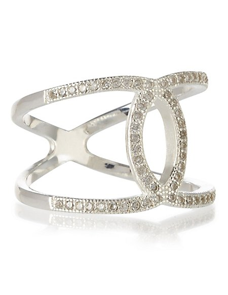 Sterling Silver Diamanté Loop Through Ring