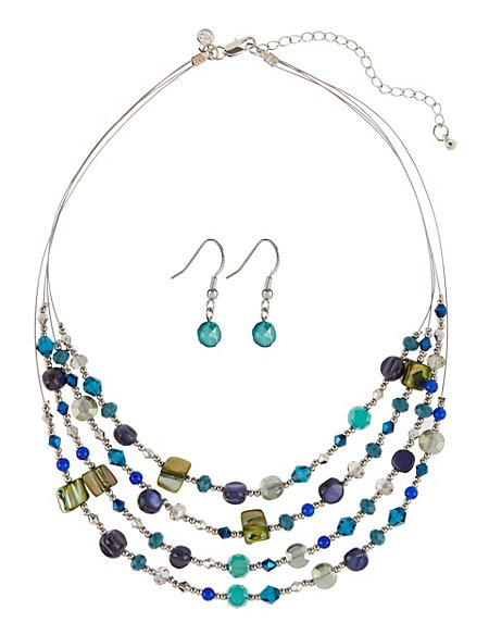 Assorted Bead Multi-Row Necklace & Earrings Set