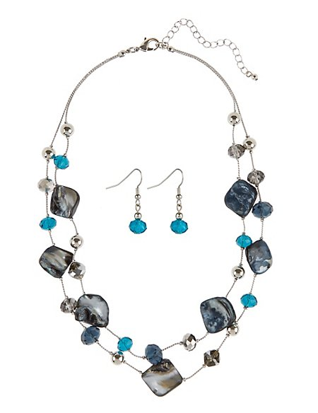 Shell Spacer Necklace & Earrings Set
