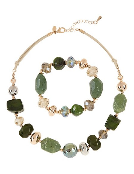 Chunky Sparkle Necklace & Bracelet Set