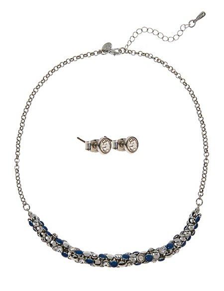 Diamanté Bow Necklace & Earrings Set