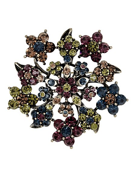 Diamanté Cluster Floral Brooch