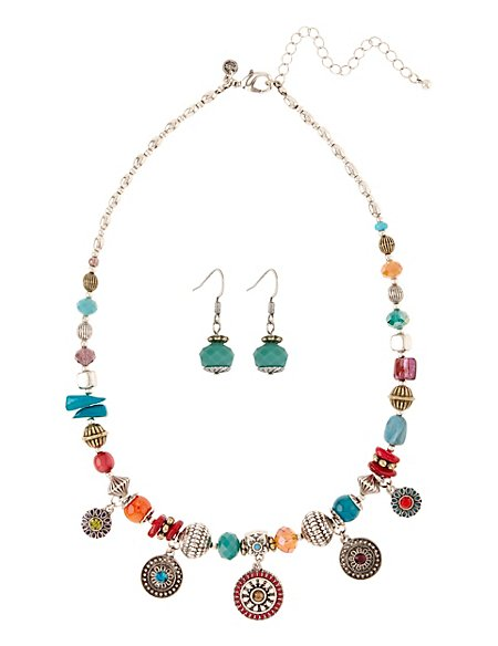 Assorted Bead Charm Necklace & Earrings Set