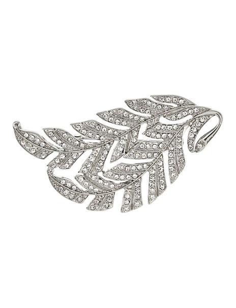 Diamanté Sparkle Leaf Cluster Brooch