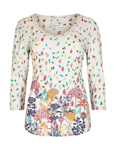 Pure Cotton 3/4 Sleeve Forest Border Print Top