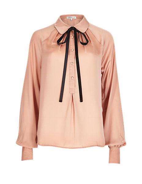 Velvet Tie Front Blouse