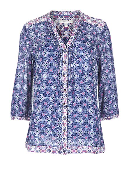 3/4 Sleeve Geometric Print Blouse