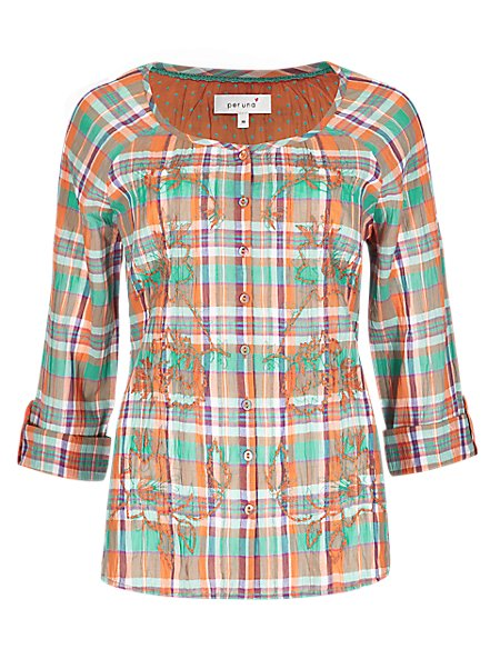 Pure Cotton Crinkle Effect Checked Blouse