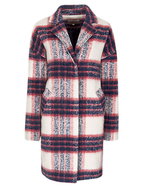 Brushed Checked Overcoat with Wool