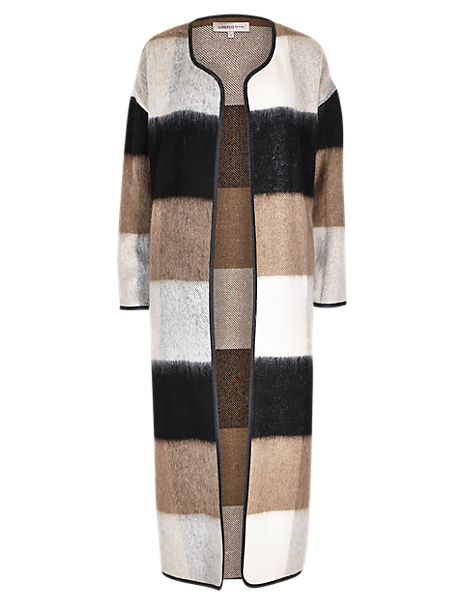 Longline Checked Blanket Coat with Wool