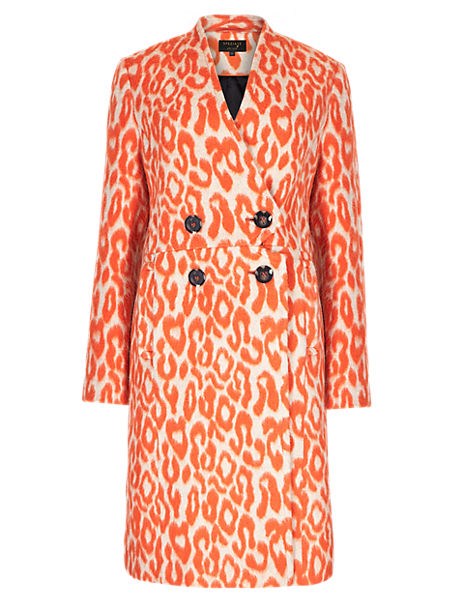 Speziale Wool Blend Animal Print Overcoat