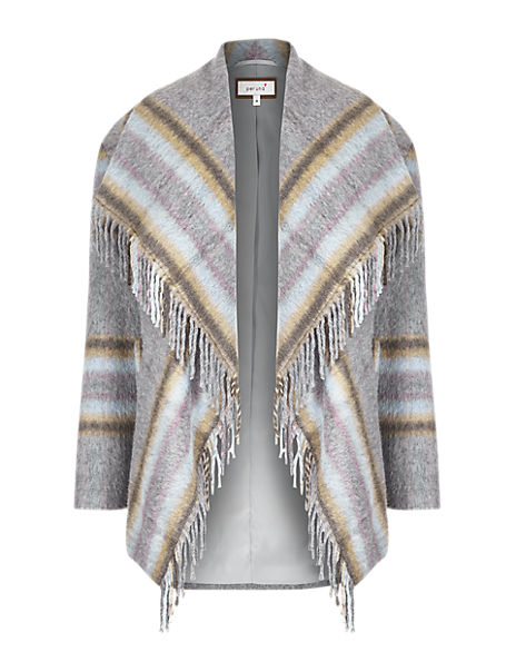 Fringed & Checked Blanket Coat with Wool