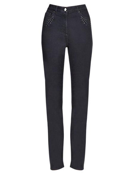 Roma Rise Straight Leg Embellished Denim Jeans