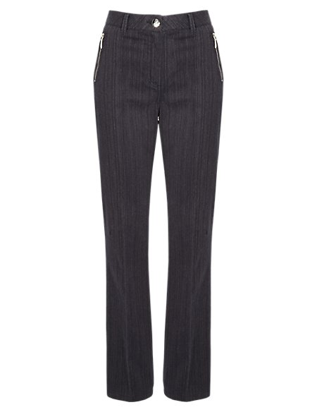 Cotton Rich Straight Leg Trousers