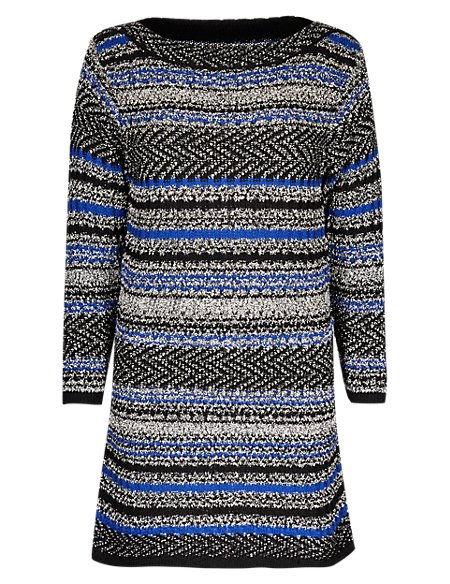 Textured Striped Knitted Tunic