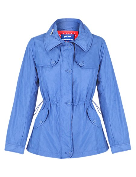 Drawstring waist jacket with concealed hood