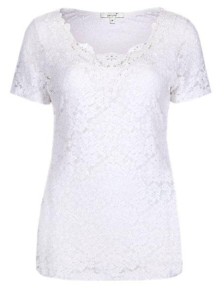 Cotton Rich Floral Lace Top