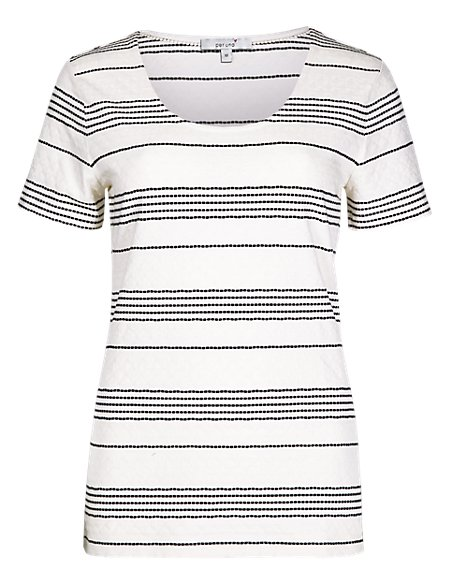 Embroidered Striped Top with Modal