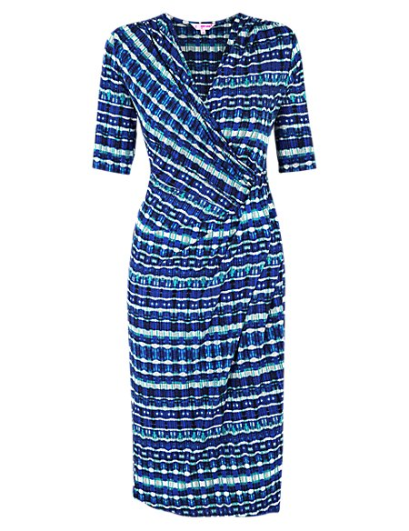 Graphic Print Wrap Dress