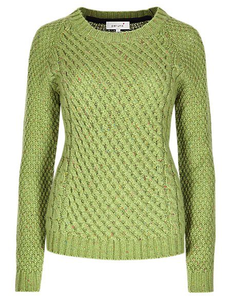 Textured Cable Knit Waffle Jumper with Wool