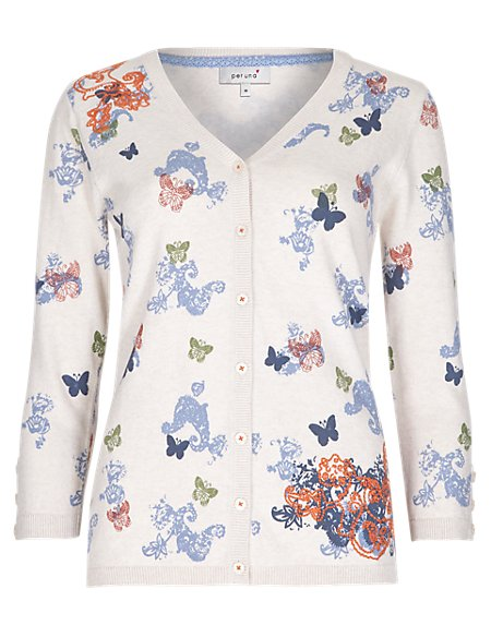 Pure Cotton V-Neck Assorted Print Cardigan