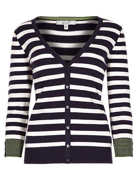 Pure Cashmere 3/4 Sleeve Striped Cardigan