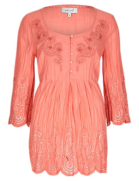 Pure Cotton Embellished Neckline Crinkle Tunic