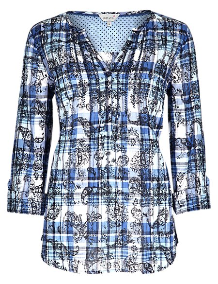 Pure Cotton Paisley & Checked Blouse