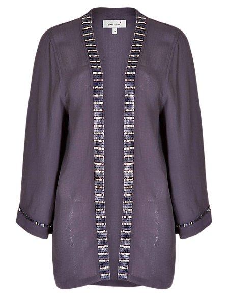 Bead Embellished 3/4 Sleeve Kimono Top