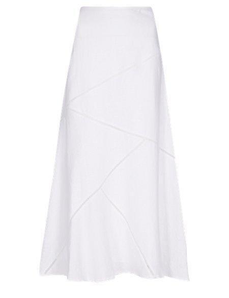 Pure Linen Panelled Maxi Skirt