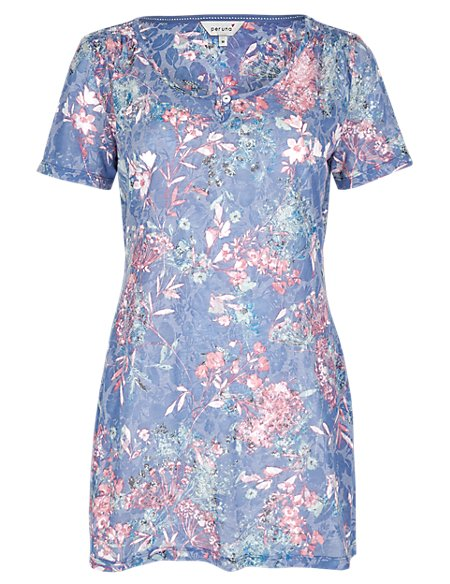 Burnout Floral Tunic