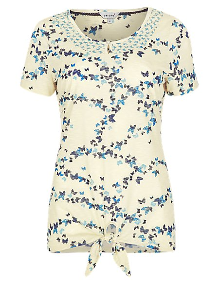 Front Knot Butterfly Print T-Shirt