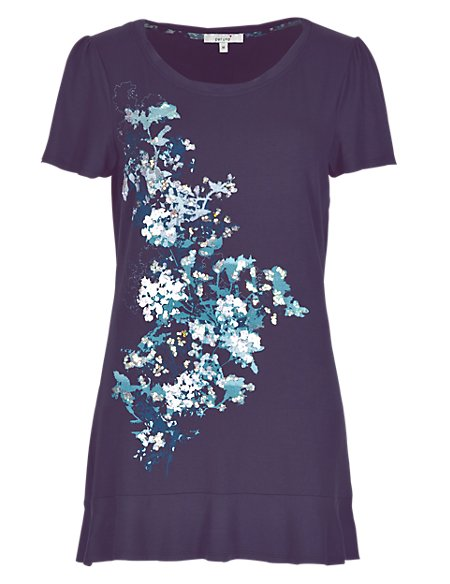 Abstract Floral Placement Frill Hem Tunic
