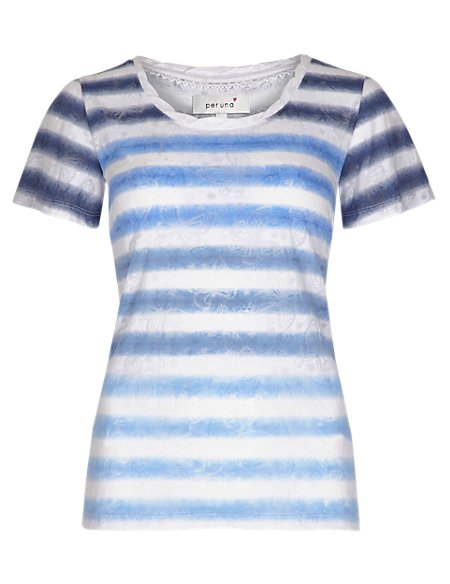 Pure Cotton Ombre Striped Butterfly Burnout T-Shirt