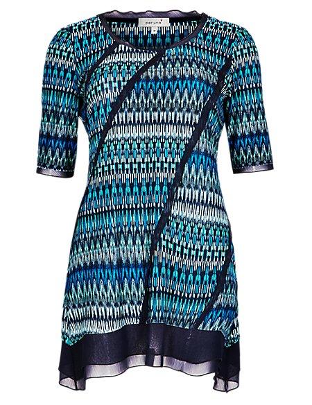 Chiffon Panelled Geometric Print Tunic with Stretch Comfort