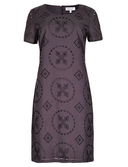 Pure Cotton Graphic Broderie Shift Dress