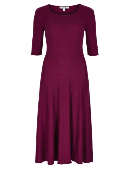 Fit & Flare Knitted Dress with Wool