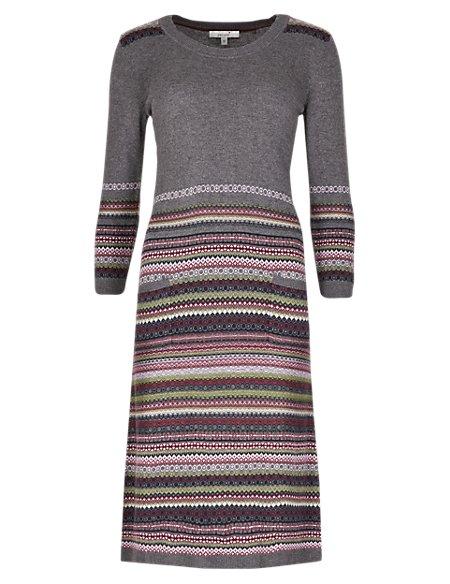 Fair Isle 3/4 Sleeve Knitted Tunic Dress with Wool