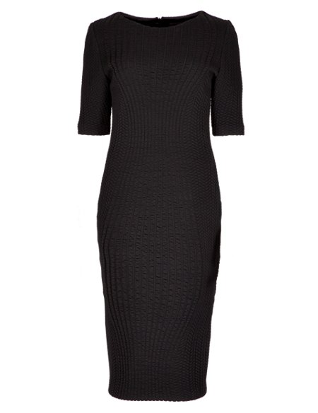 Placement Jacquard Bodycon Dress with Wool