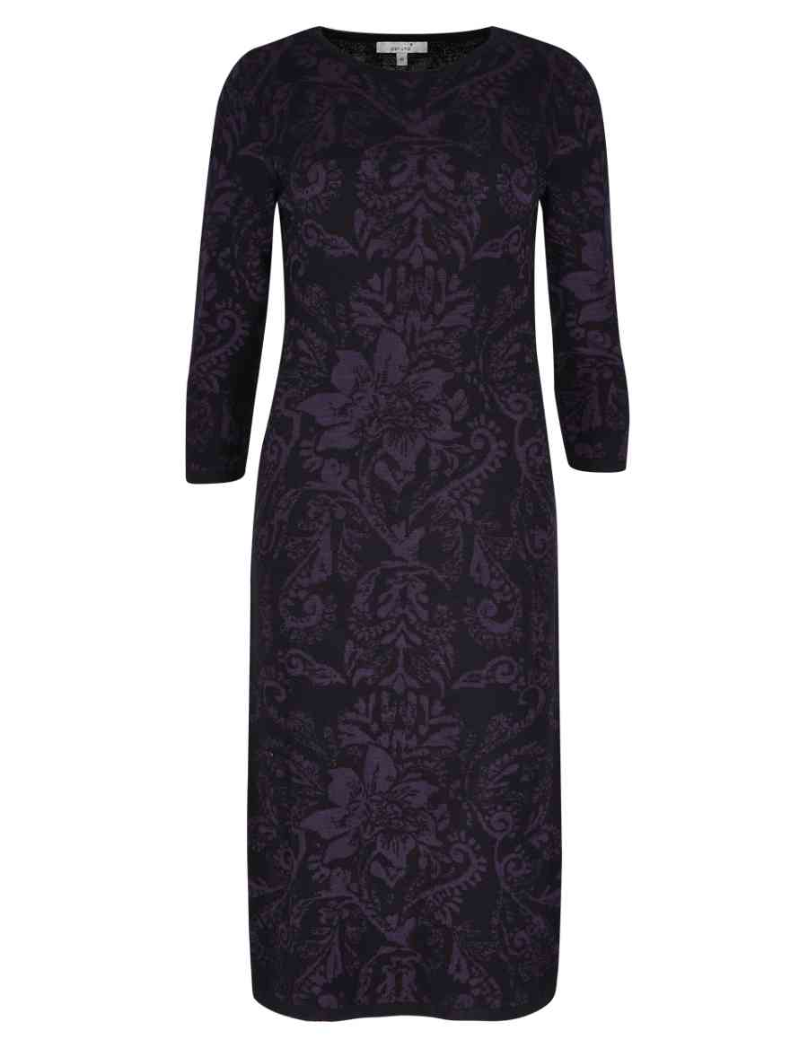 1d0968dc121 Tile Jacquard Knitted Tunic Dress with Wool