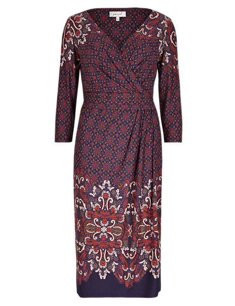 M/&S MARKS AND SPENCER AUTOGRAPH FLORAL PAISLEY PRINT BODYCON DRESS