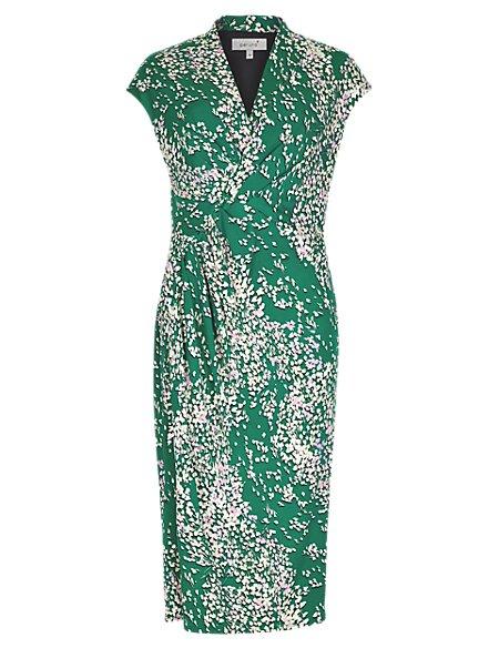 Blossom Print V-Neck Bodycon Dress
