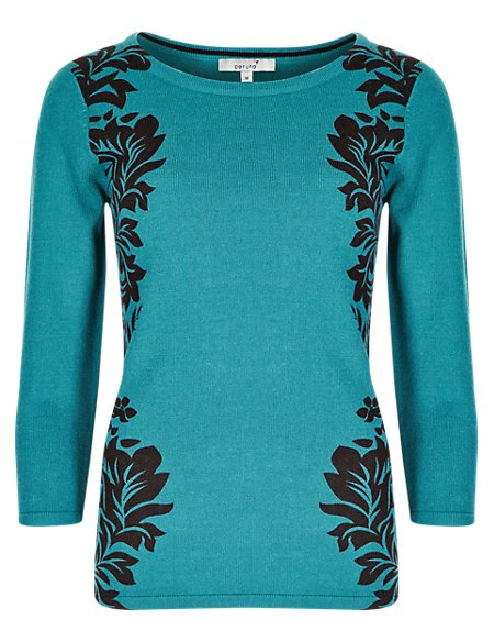 3/4 Sleeve Placement Print Jumper