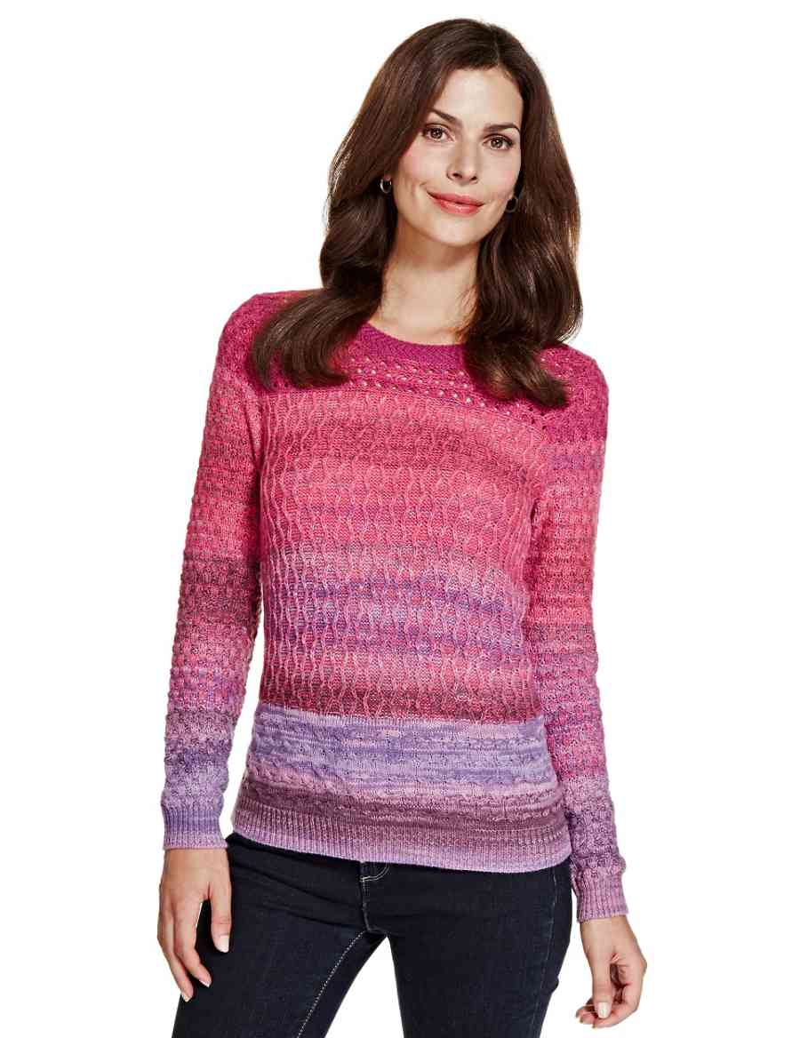 685c41984ac4 Ombre Effect Cable Knit Jumper