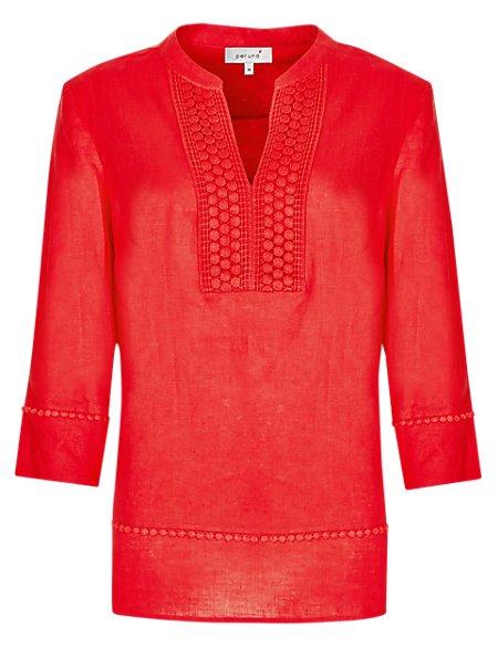 Pure Linen Lace Design Blouse