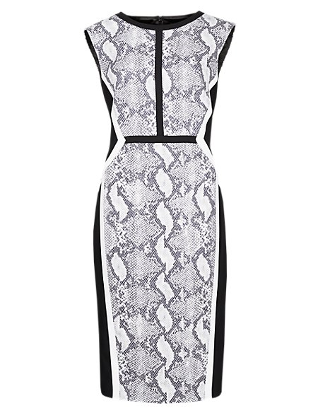 Speziale Faux Snakeskin Print Jacquard Shift Dress