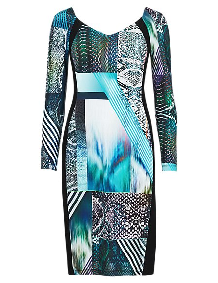 Speziale Petite Abstract Print Panelled Bodycon Dress