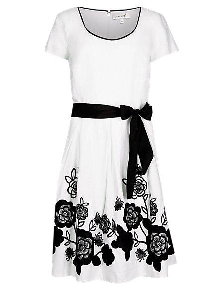 Applique Hem Dress with Belt