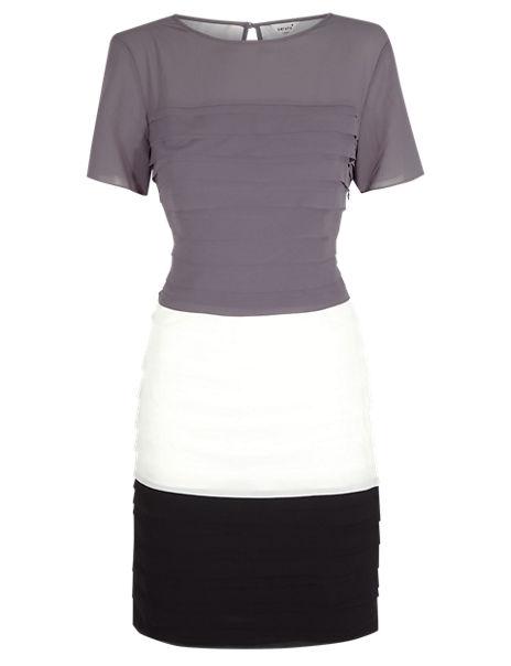 Colour Block Ribbon Dress